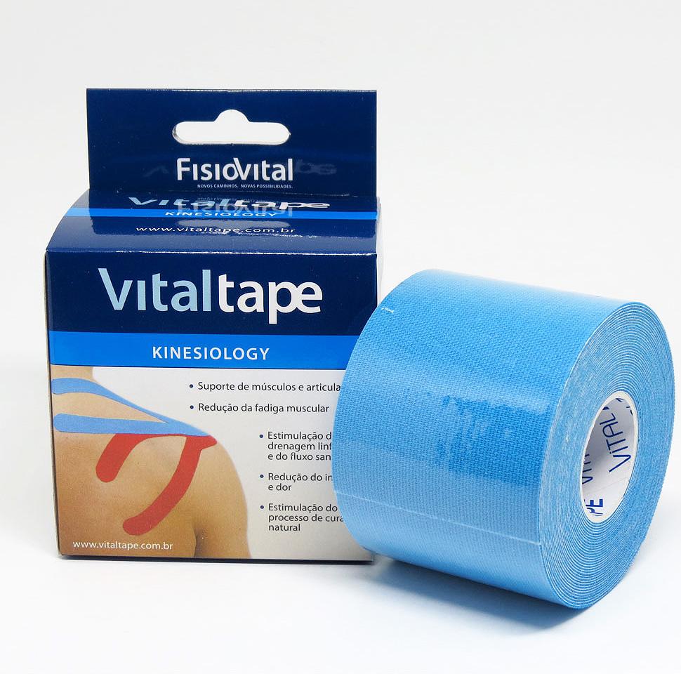 Bandagem Adesiva Elástica - Kinesio Tape - Vitaltape FisioVital - Azul 2b03a12139092