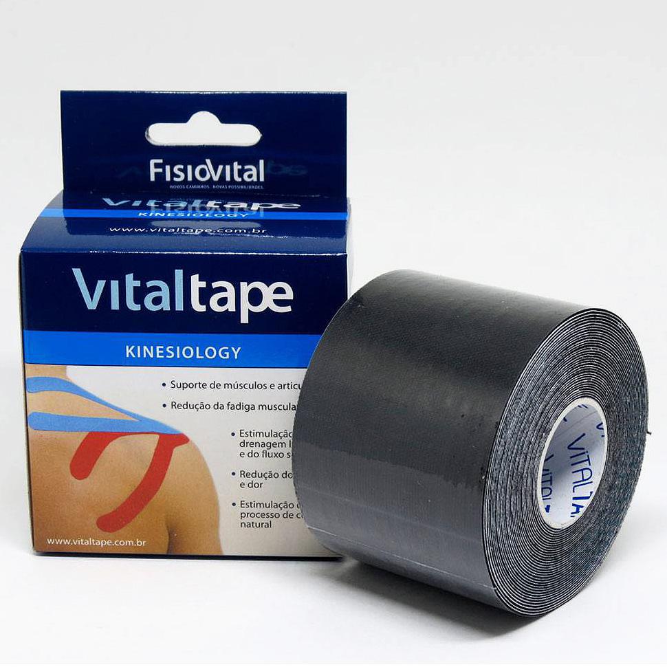 Bandagem Adesiva Elástica - Kinesio Tape - Vitaltape FisioVital - Preto 8417c23b9b43d